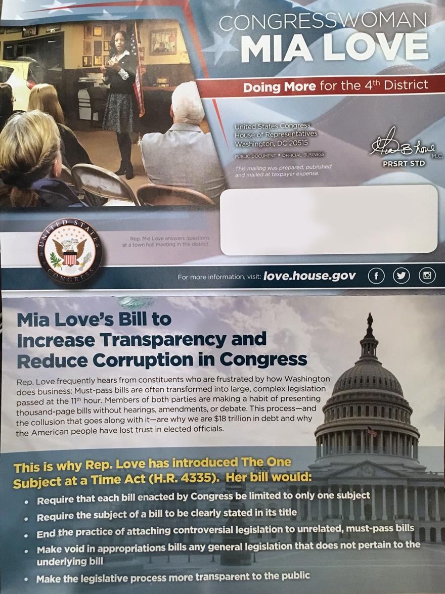 Mia Love One Subject Mailer